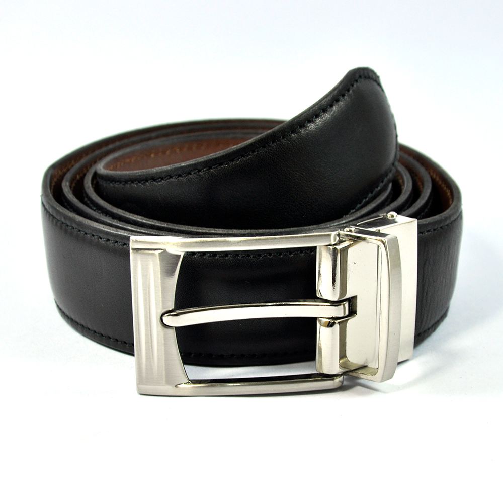 Black Leather Belt with Stylish Buckle