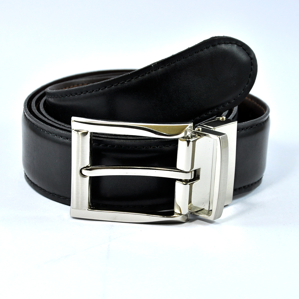 Black Leather Belt with Stylish Pin Buckle