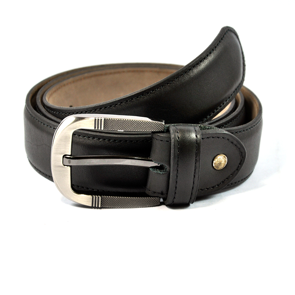 Stylish Black Leather Belt with Fancy Buckle
