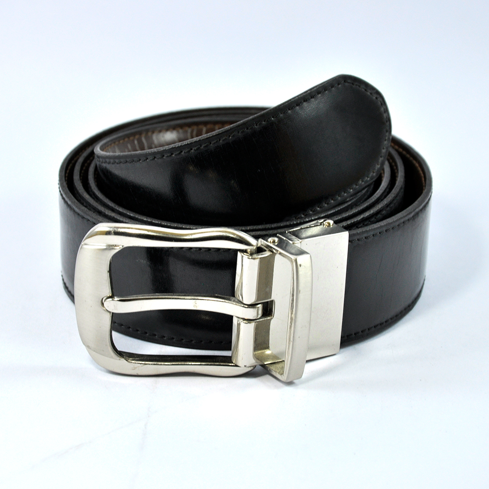 Stylish Black Leather Silver Buckle Belt