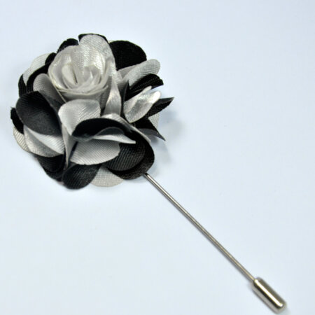 Stylish Black & Silver Floral Lapel Pin