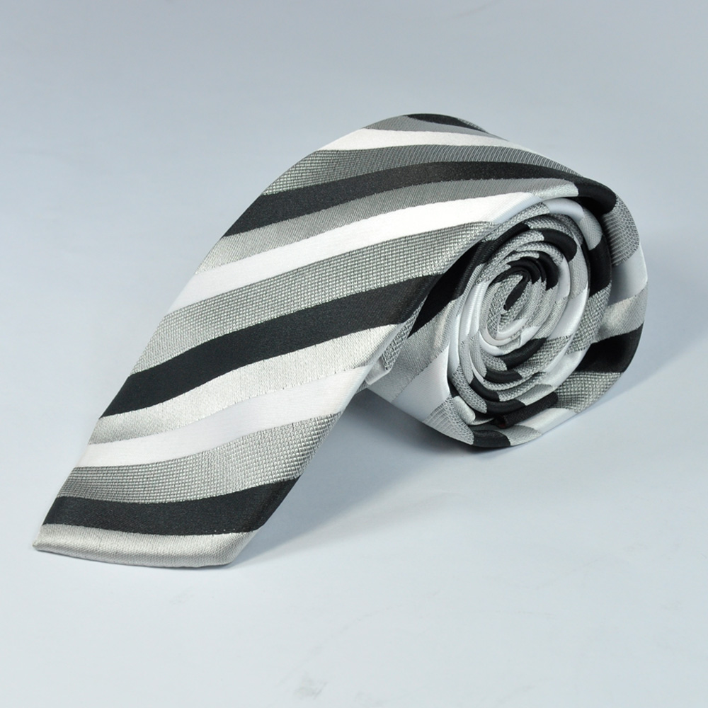 Grey and Black Diagonal Style Tie