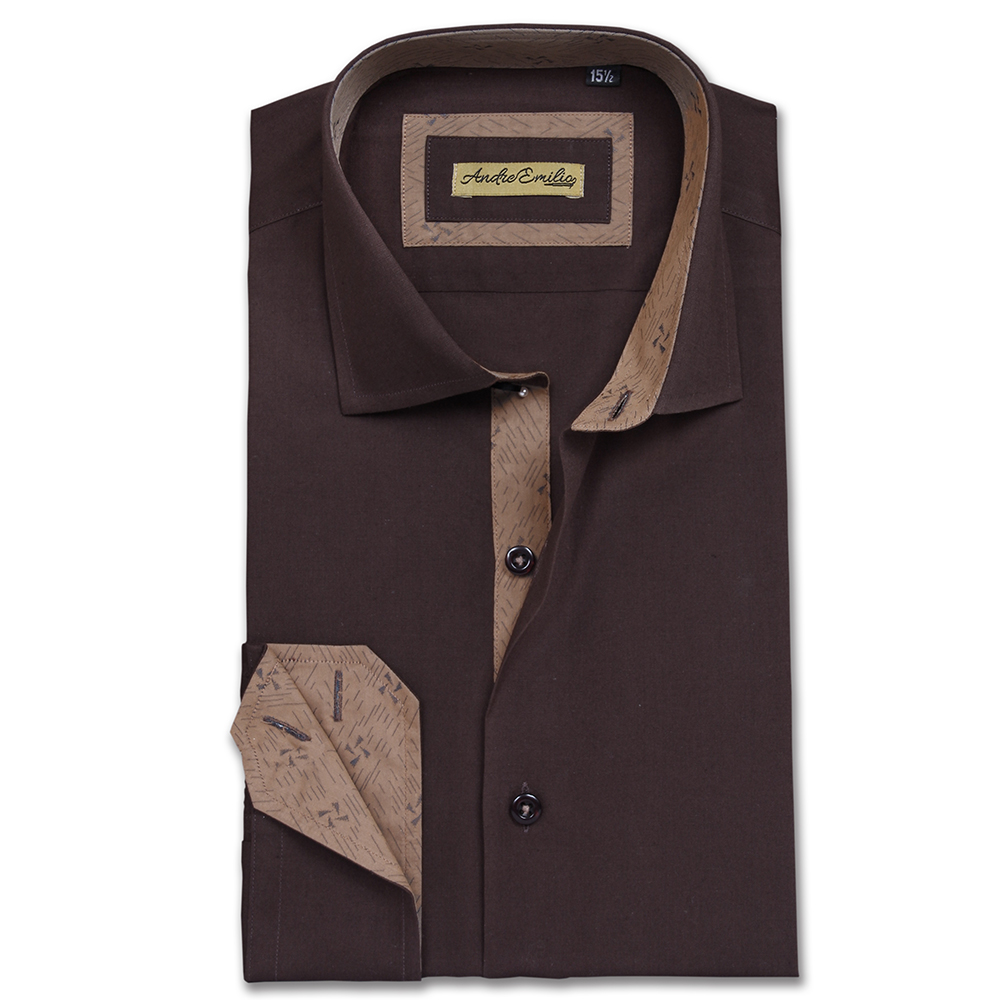 Men Chocolate Brown Slim Fit Shirt