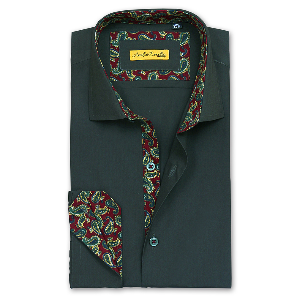 Men Dark Green Slim Fit Shirt