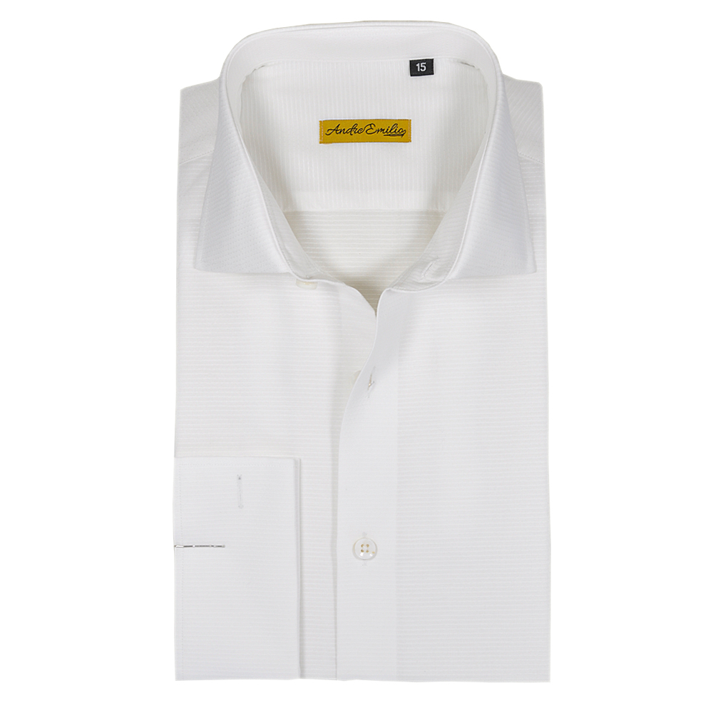White Color Self Texture Formal Shirt