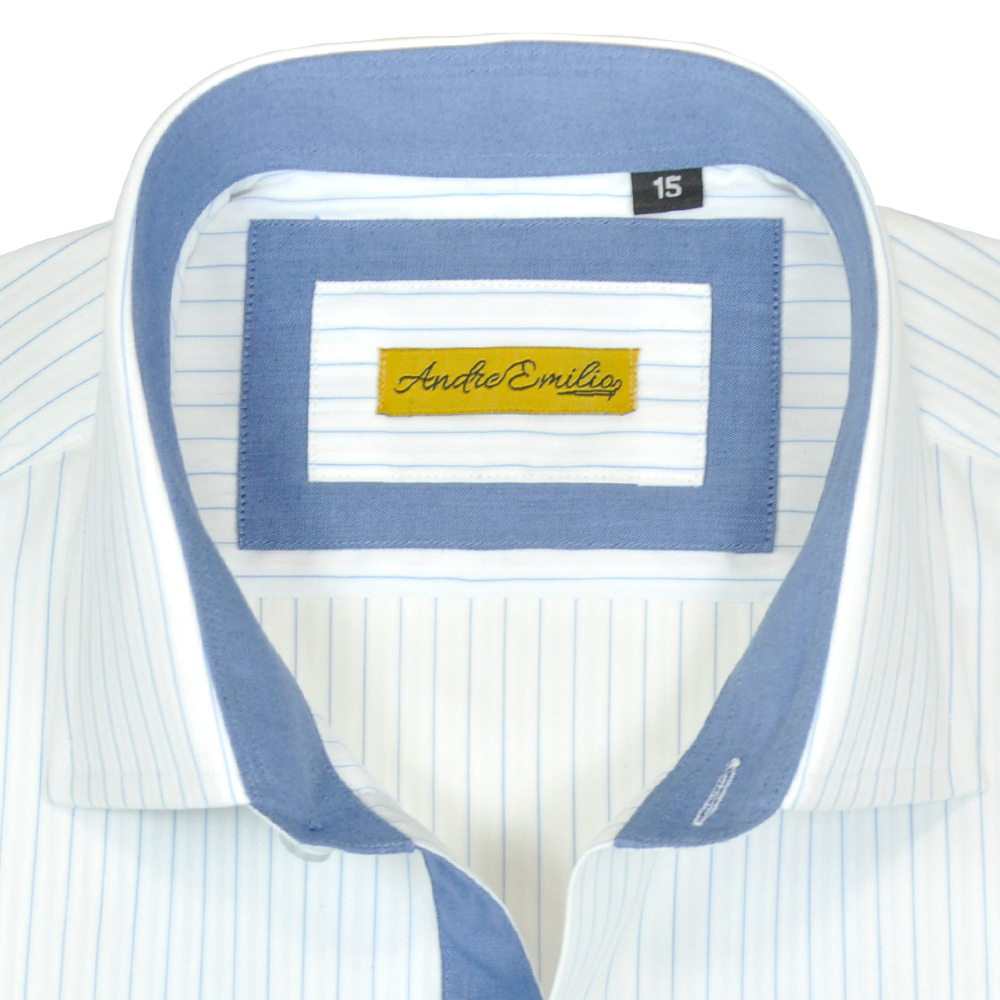 Slim Fit White Shirt With Blue Stripes - Andre Emilio 1