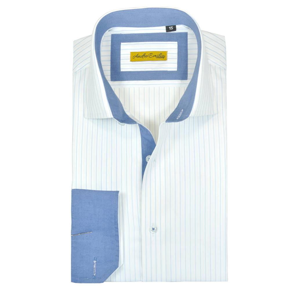 White Formal Shirt with Blue Stripes