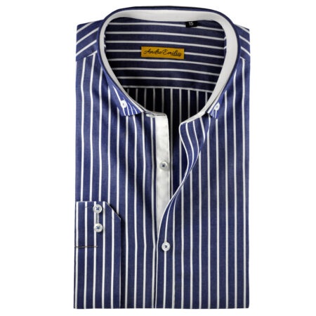 Blue Button Down Shirt with White Stripes