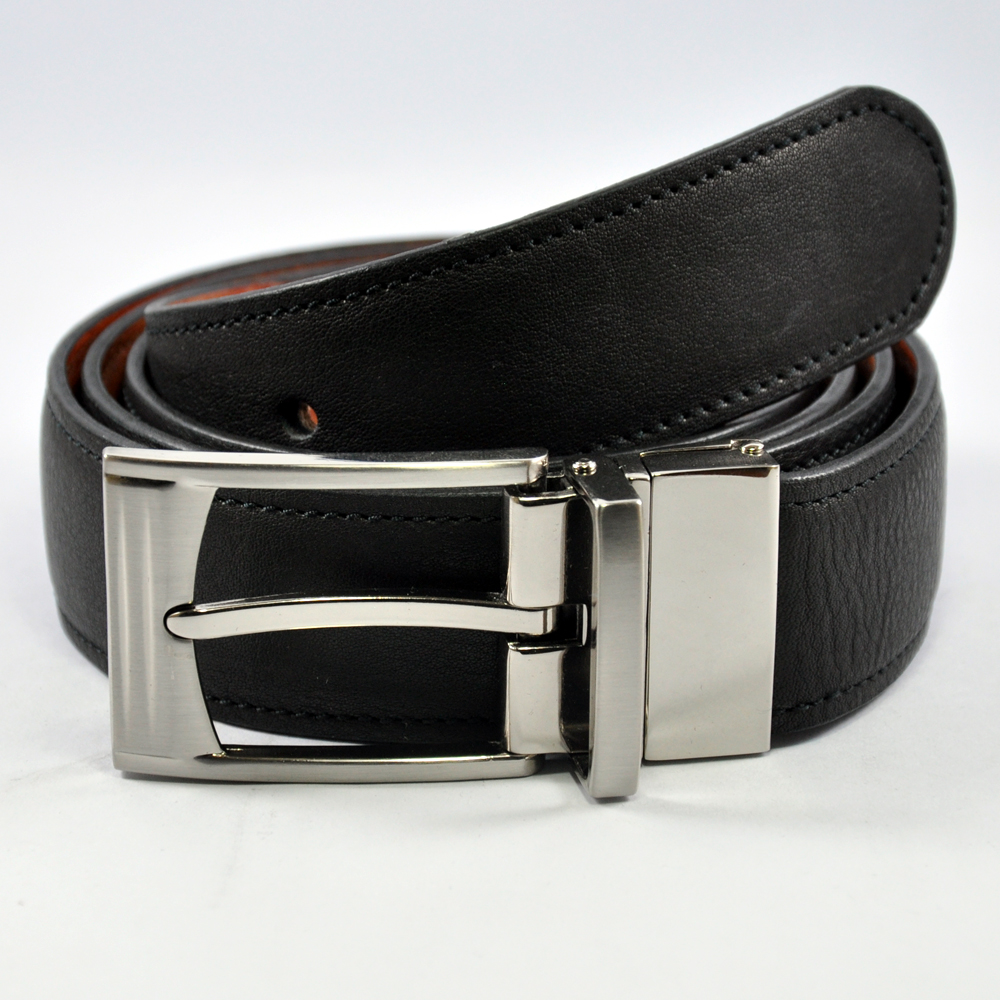 Black Leather Reversible Buckle Belt