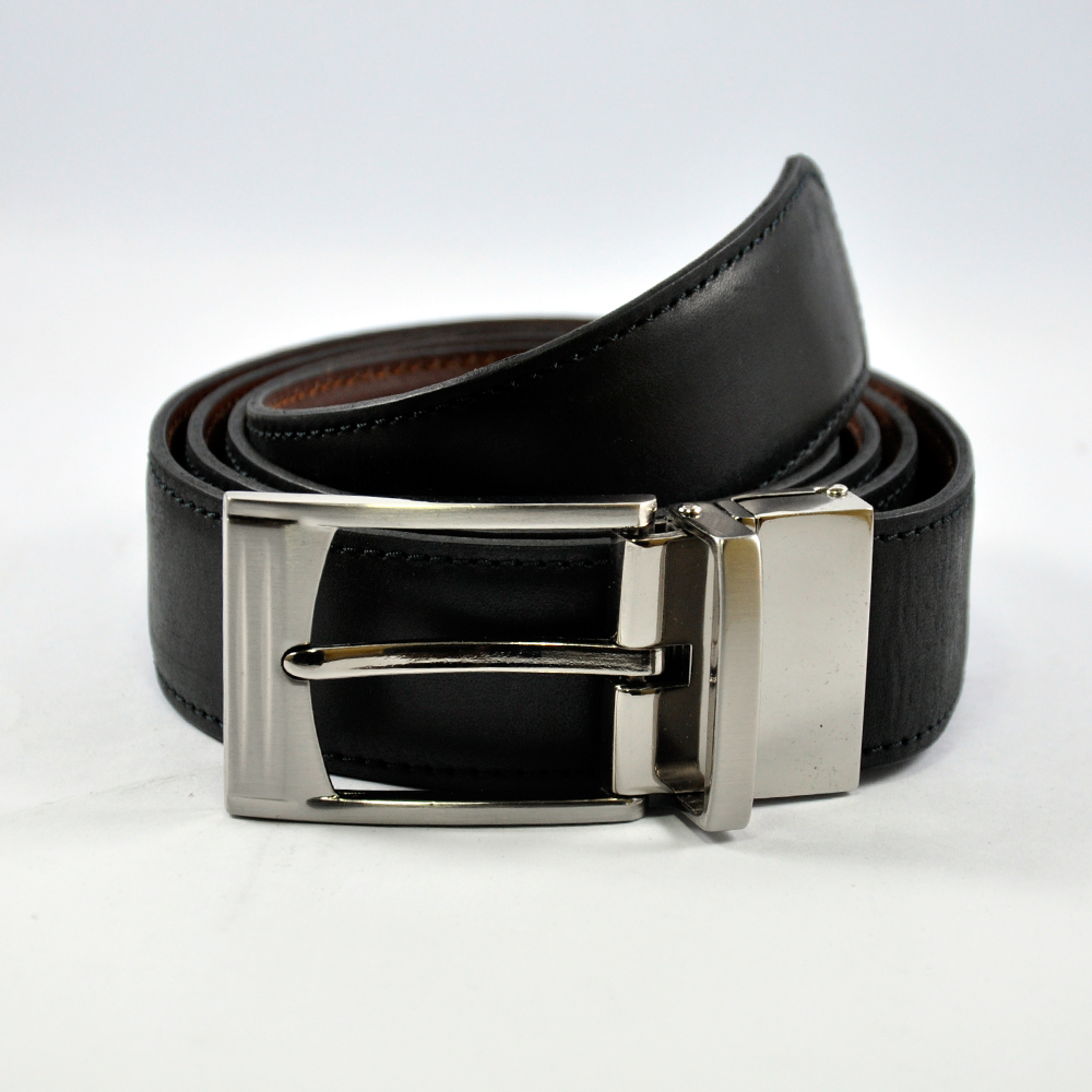 Black Leather Belt with Reversible Buckle