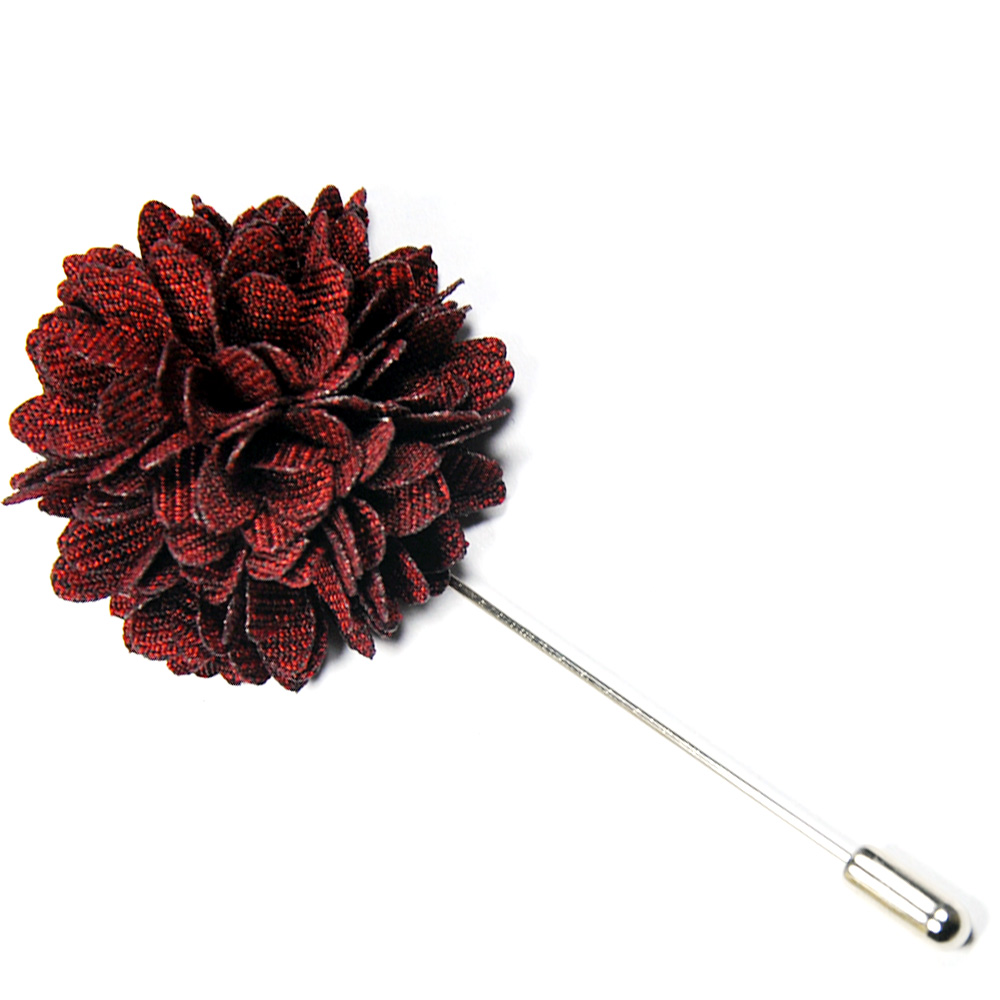 Dark Maroon Floral Lapel Pin