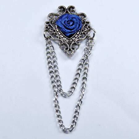 Blue Flower Lapel Pin with Chain Style