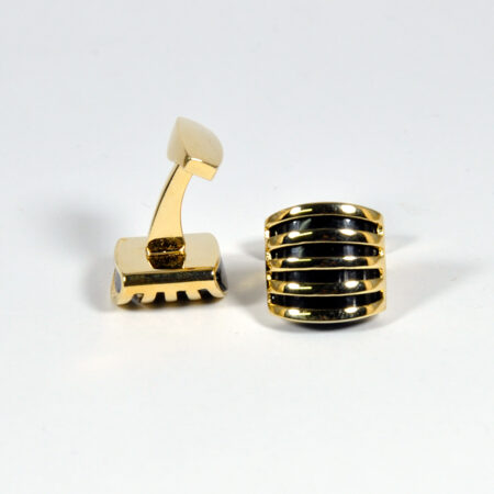 Gold and Black Square Cufflinks for Men