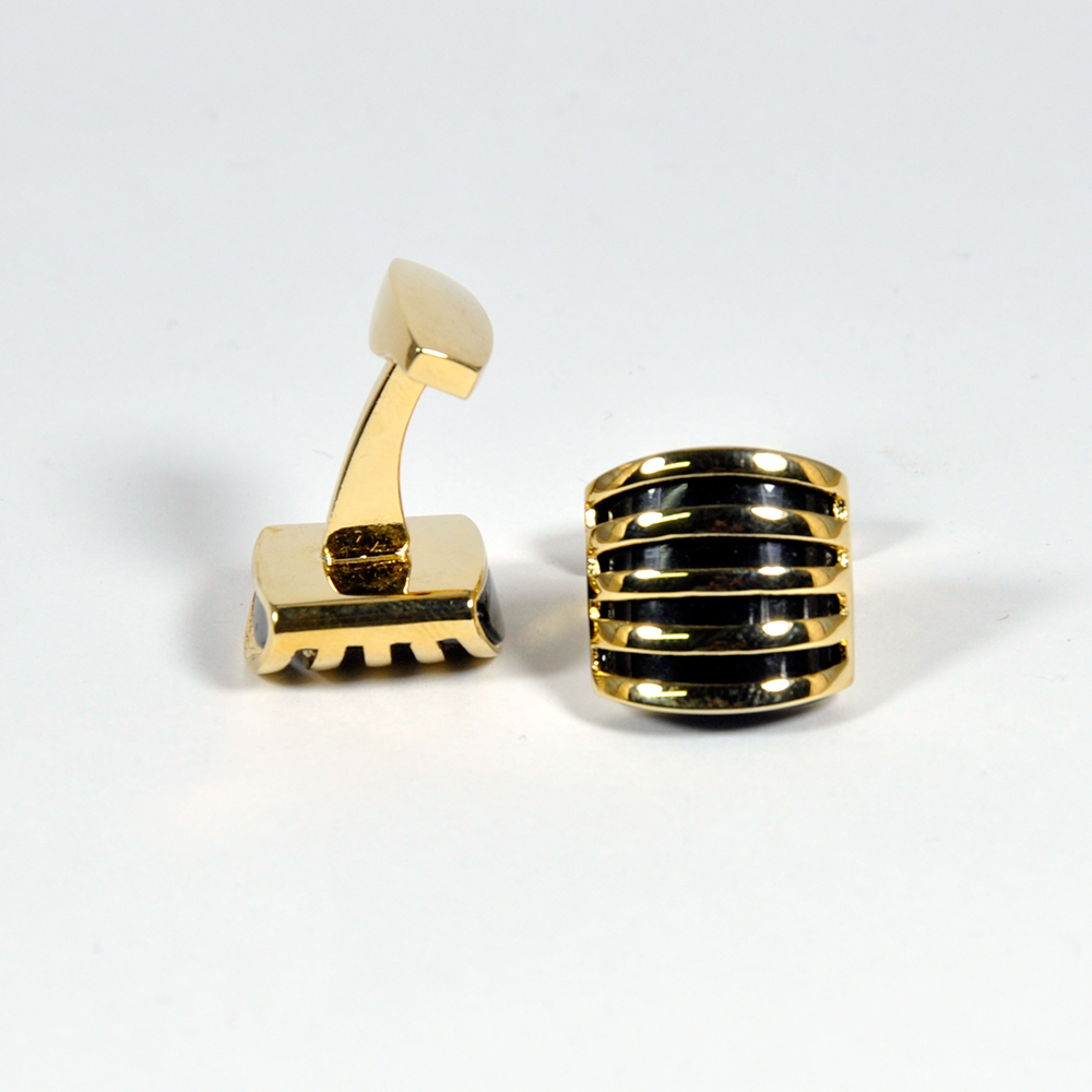 Gold and Black Square Cufflinks for Men 1