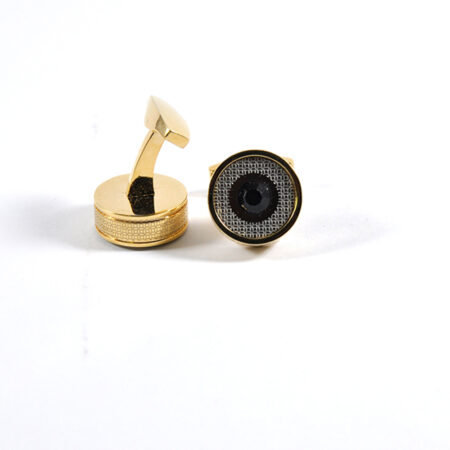 Golden and Black Round Shape Cufflinks for Men