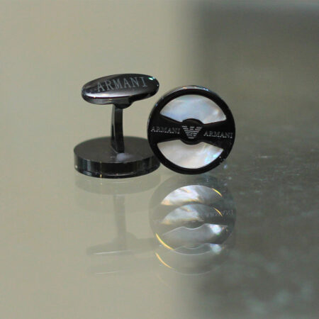 Round Shape Black Cufflinks for Men