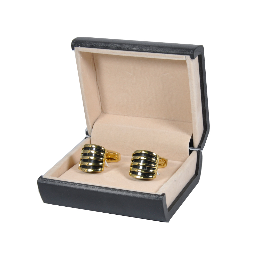 Gold and Black Square Cufflinks for Men 2