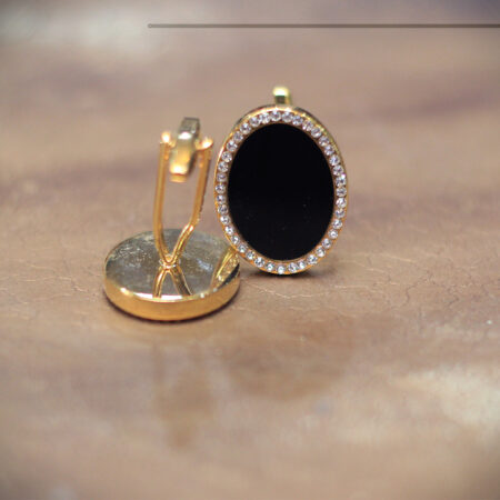 Stone Studded Oval Shape Cufflinks
