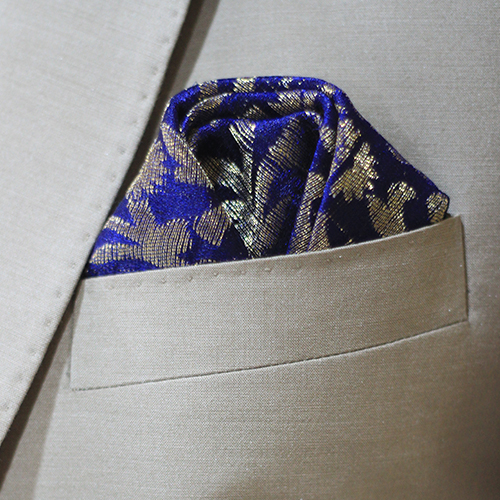 Dark Blue Hand Made Jamawar Pocket Square