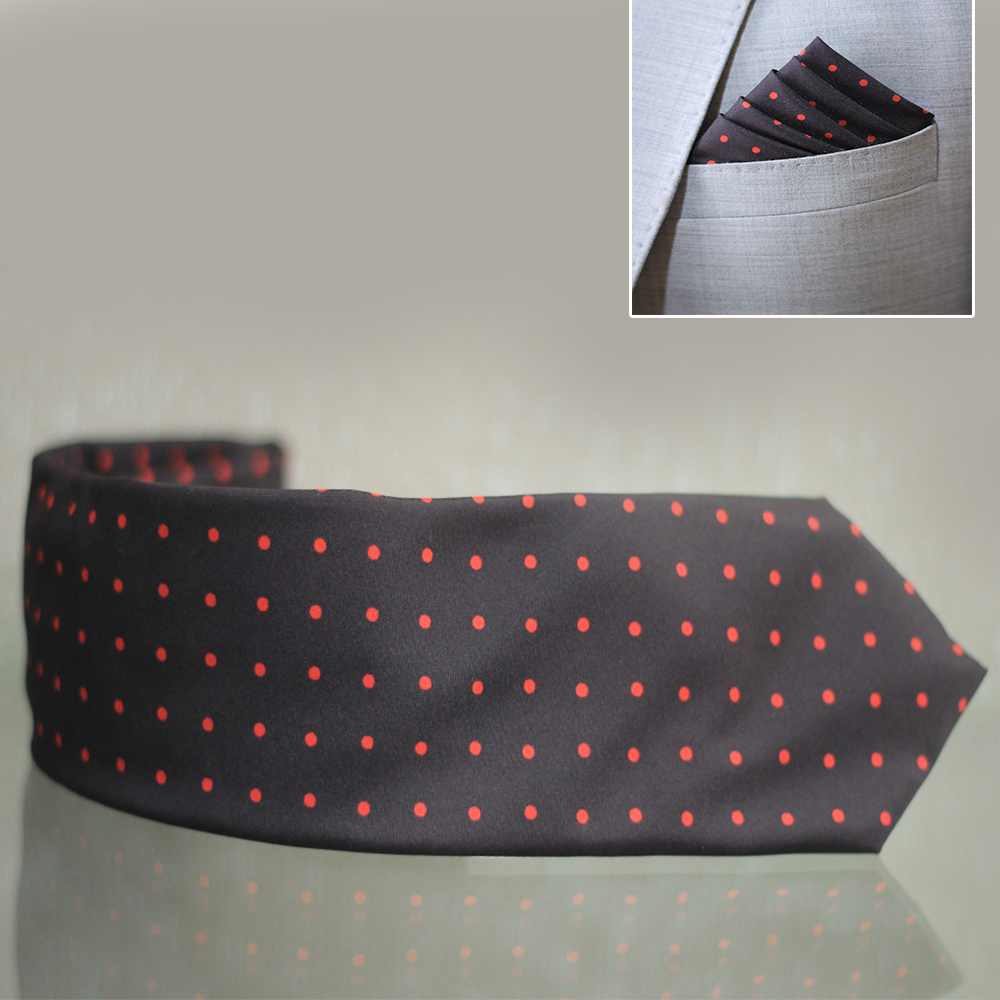 hand made black  u0026 red dot tie  u0026 pocket square
