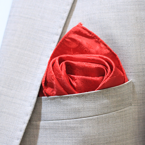 Hand Made Red & Black Design Rayon & Polyester Mix Pocket Square