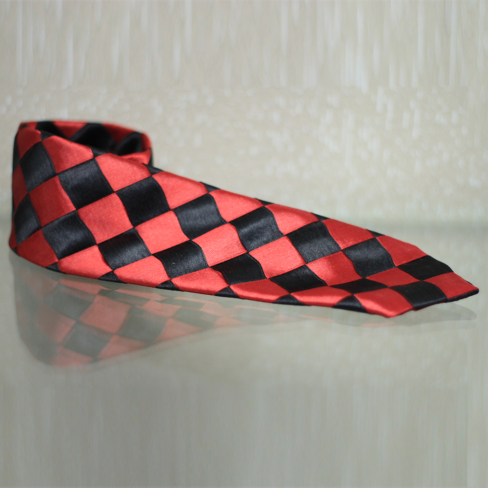 Hand Made Red & Black Design Rayon & Polyester Mix Tie
