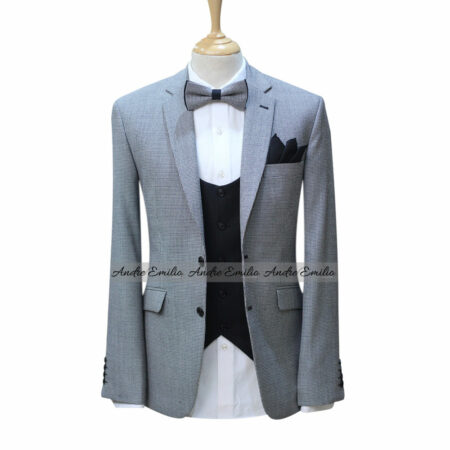Hounds-tooth Black and White Tropical Worsted Wool 3 Piece Suit