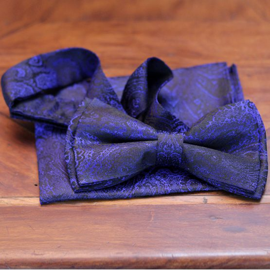 Navy Blue Silk Bow Tie with Matching Pocket Square