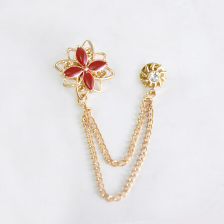 Buy Maroon Flower Shape Brooch with Golden Chain