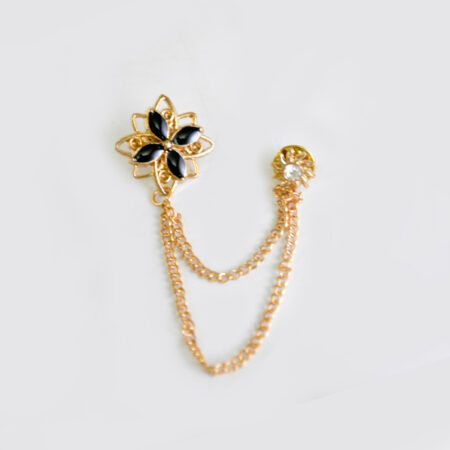 Buy Black and Golden Flower Shape Broach for Men