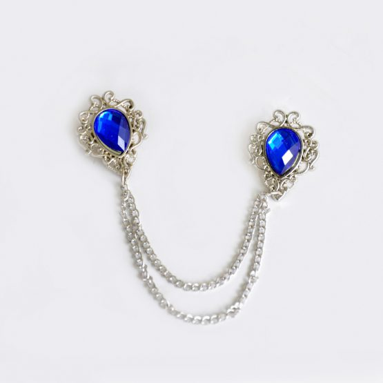 Silver Sherwani Brooch with Navy Blue Pearl Stone