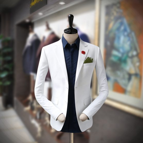 White Customize Men's Blazer for Summer- Andre Emilio