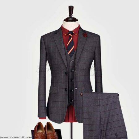 Single Breasted Dark Grayish Magenta 3 Piece Suit