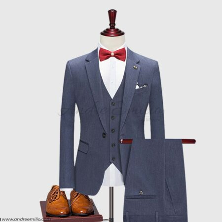 Traditional Fit Steel Gray 3 Piece Suit - Andre Emilio
