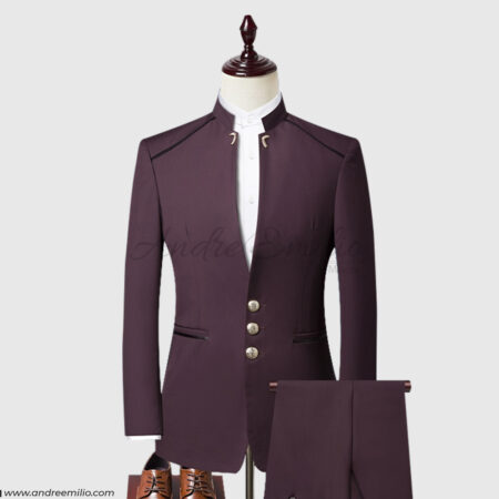 Maroon Mandarin Collar 2 Piece Suit