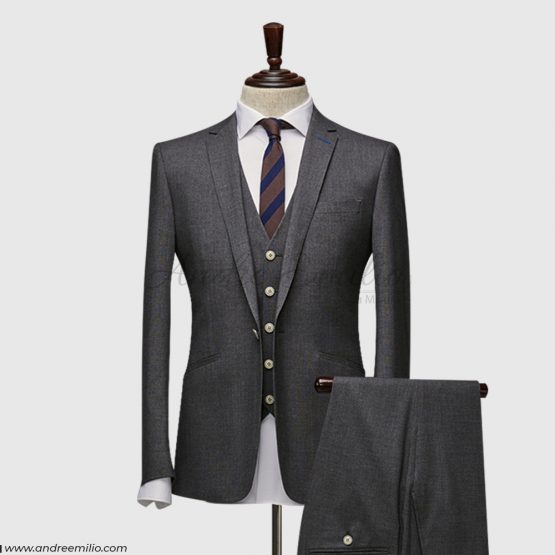 Modern Fit Charcoal Gray 3 Piece Suit