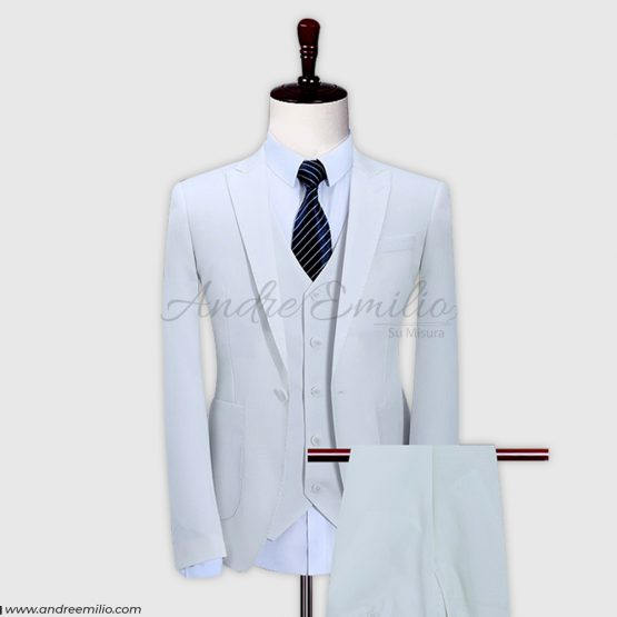 Customized White 3 Pcs Italian Tropical Slim Fit Suit