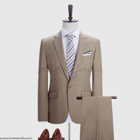 2 Piece Camel Color Suit for Men
