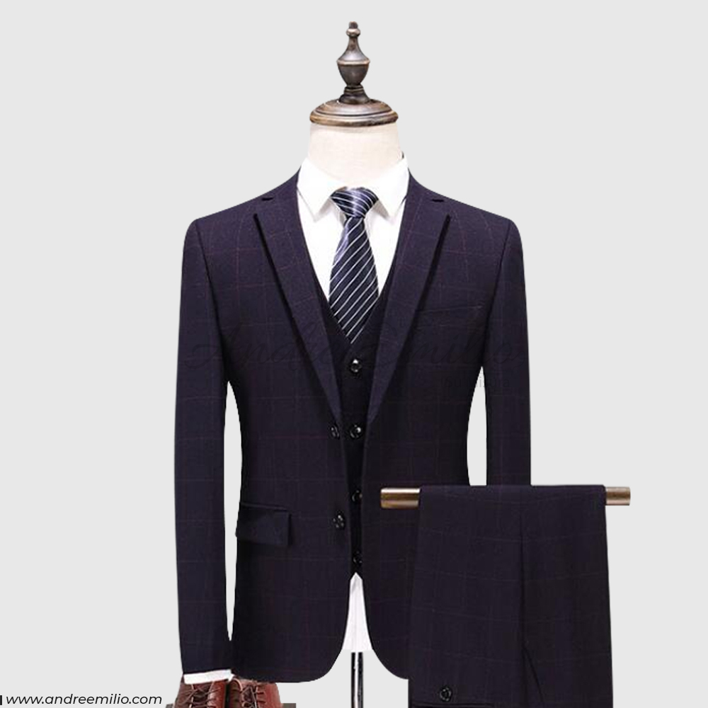 Plum Colored 3 Piece Suit with Waistcoat
