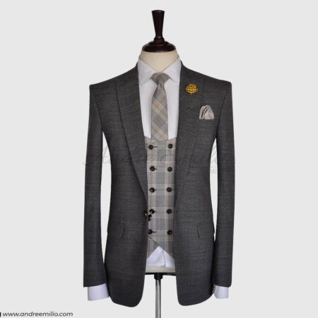 Dark Gray 3 Pcs Suit with V-Shape 5 Button Double Breast Waistcoat