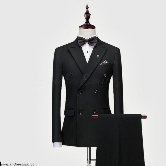 Buy Black Double-Breasted 2 Piece Suit