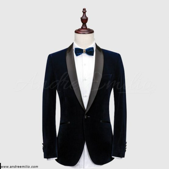 Buy Blue Velvet & Wool Tuxedo for Mens