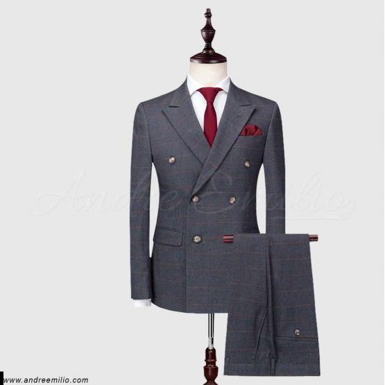 Buy Grey Double-Breasted 2 Piece Suit