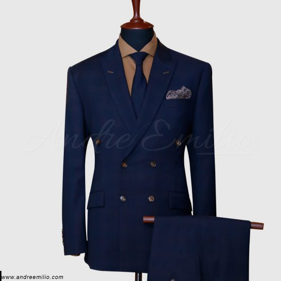 Navy Blue Double-Breasted 2 Piece Suit