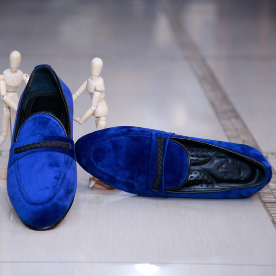 Navy Blue Suede Loafers (1)