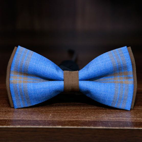 blue and brown textured bow tie