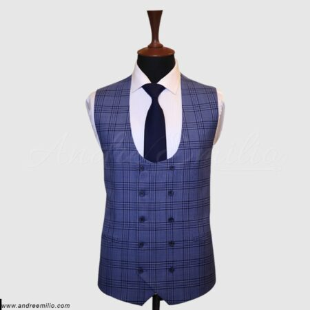 Dark Blue Checker Vest (1)