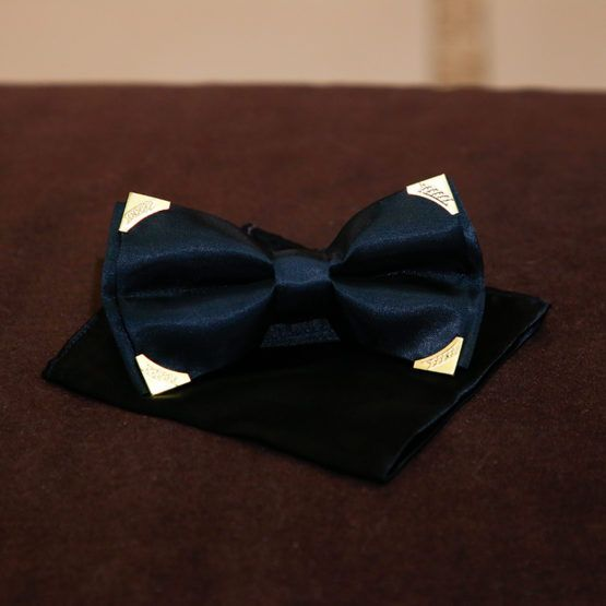 Andre Emilio Black Gold Metal Tipped Bowtie
