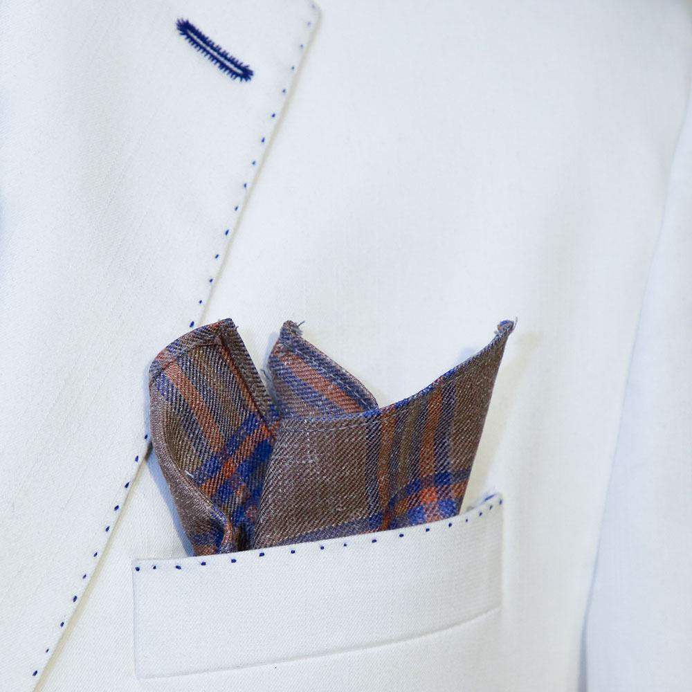 Brown Checked Pocket Square