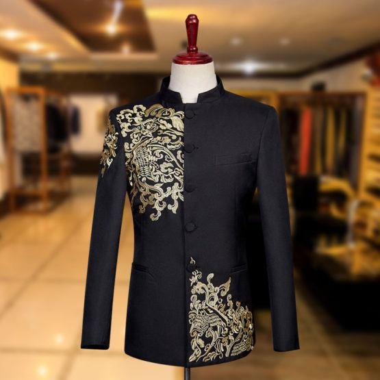 Embroidered Black Prince Suit